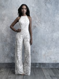 Model wearing full lace bridal jumpsuit