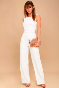 Backless Chic Bridal Jumpsuit by Lulus