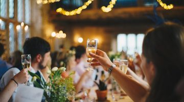 Guests toasting couple on wedding day