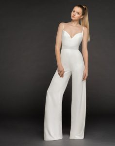 Hayley Paige Model wearing crepe bridal jumpsuit