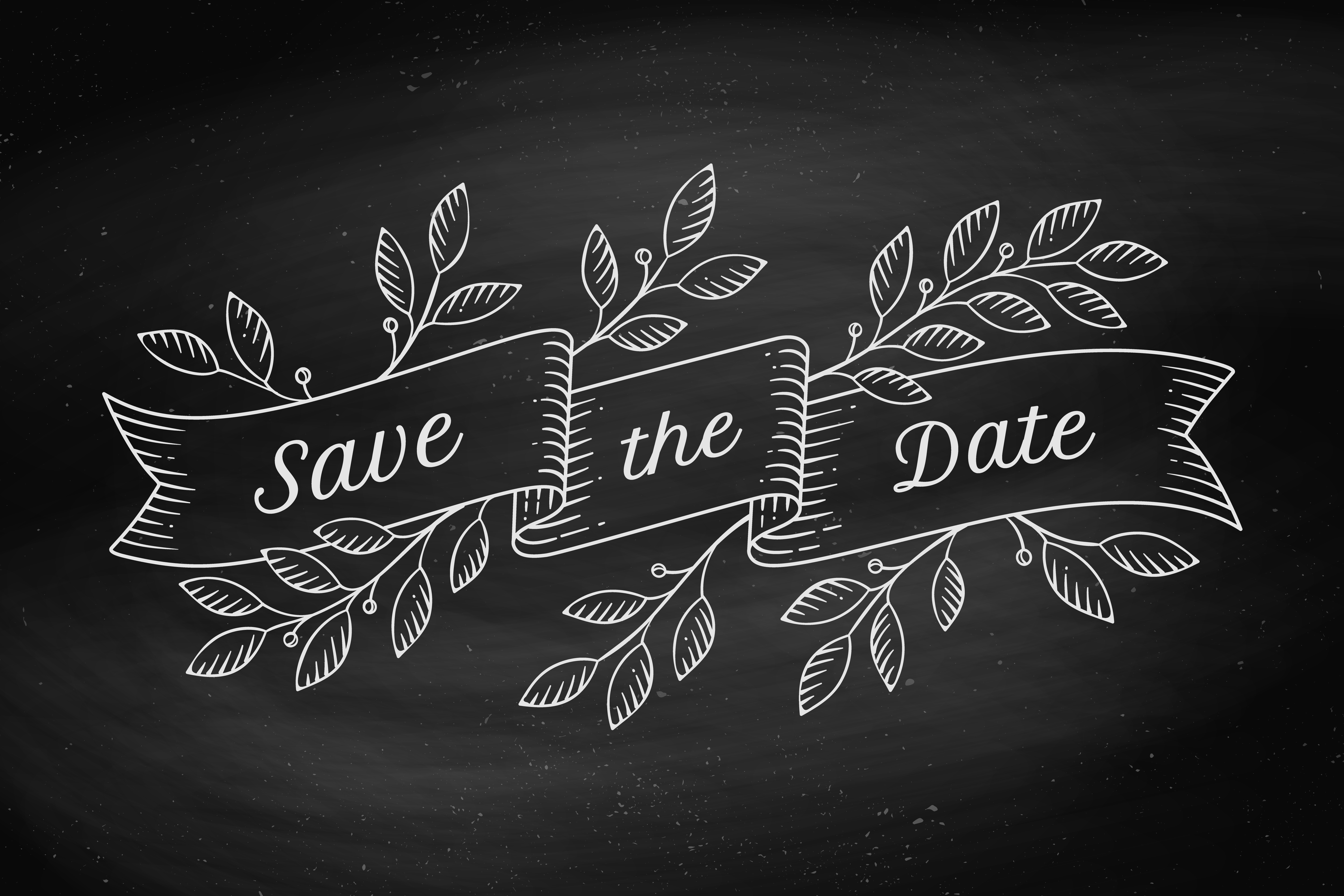 Wedding Save The Date Chalkboard Graphic with leaf graphics