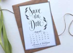Calendar save the date template with calligraphy and foliage