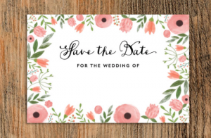 Floral 'Save the date for the wedding of' free template. Postcard printable.