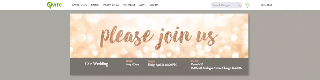 Evite webpage with free online wedding invitation
