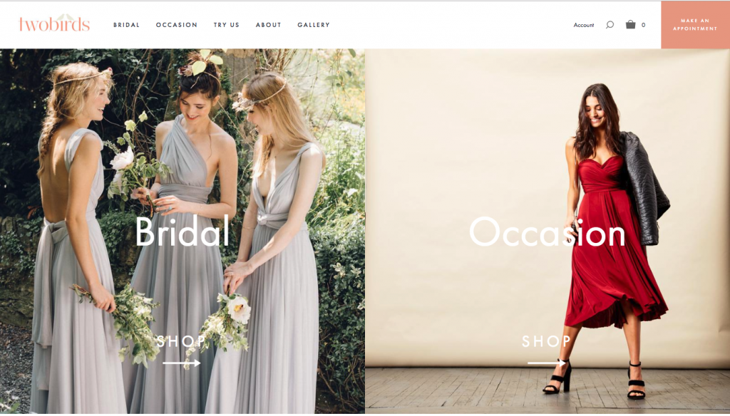 twobirds bridesmaid dress shopping page