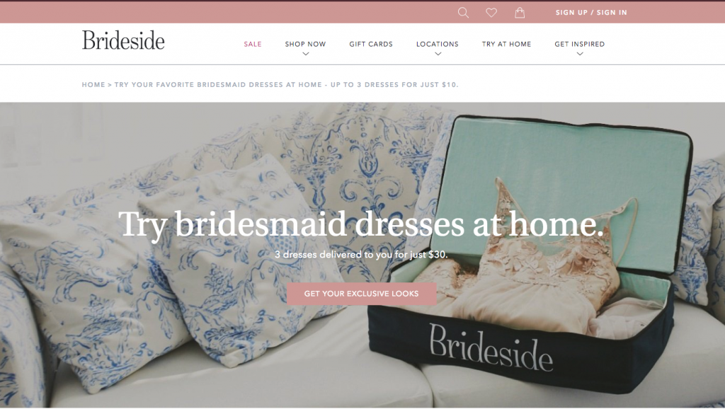 Brideside bridesmaid dress store shopping page