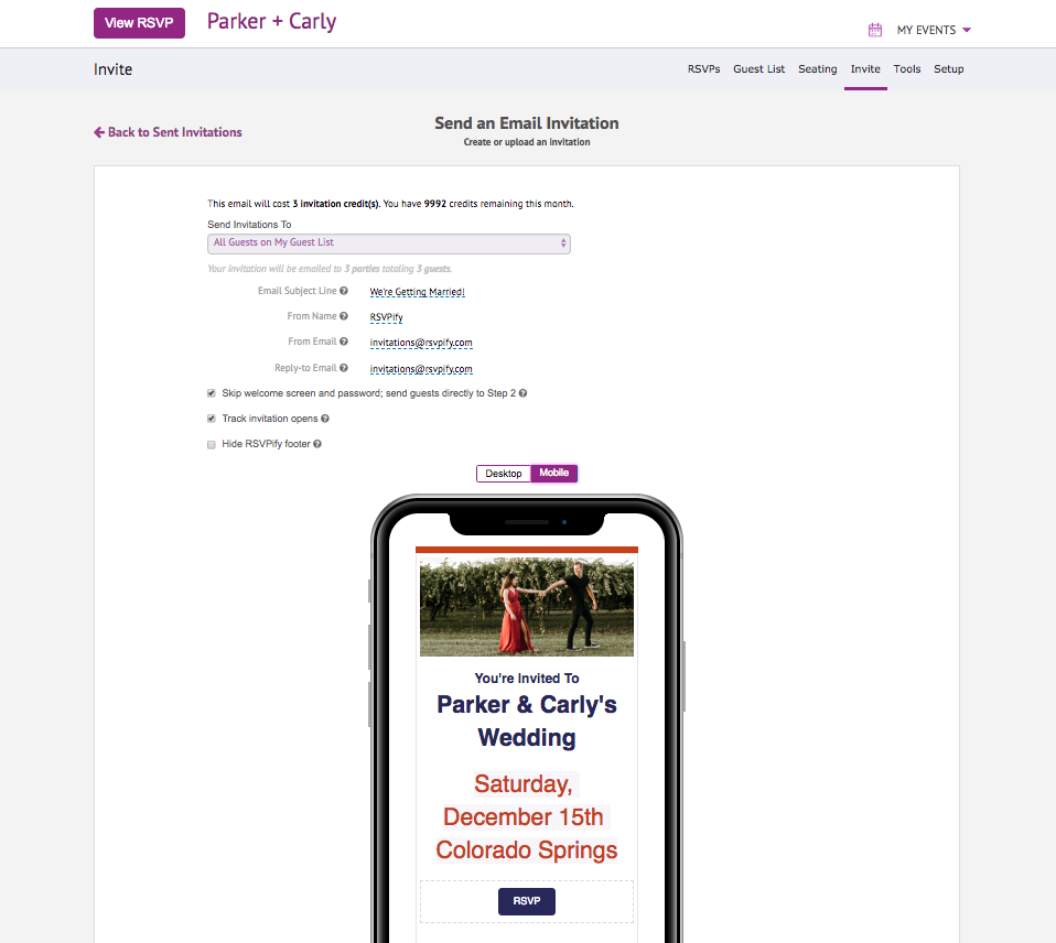 App screenshot of RSVPify free wedding online invitation builder