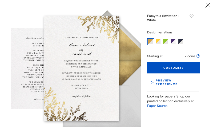 Paperless Post Gold Online Wedding Invitation with Envelope