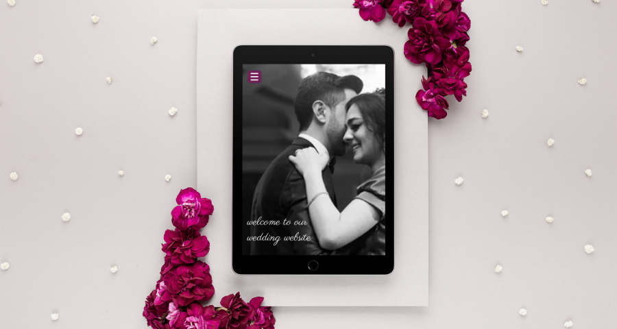 ipad displaying wedding website created by RSVPify's wedding website builder