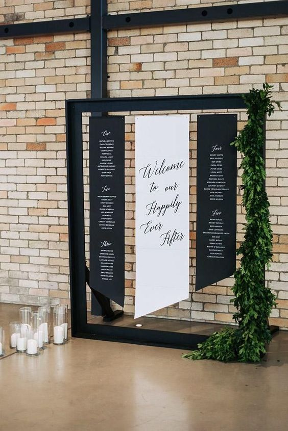 'welcome to our happily ever after' wedding banner seating chart