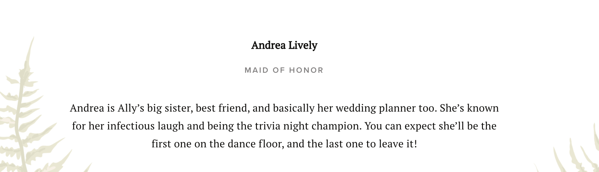Example of maid of honor wedding party bio