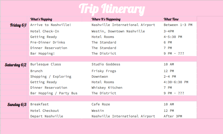 Destination Bachelorette Party Trip Itinerary Template on Google Drive
