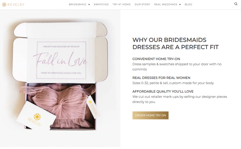 """Revelry Bridesmaid dress store home page of website. Text states 'why our bridesmaids dresses are a perfect fit""""."""