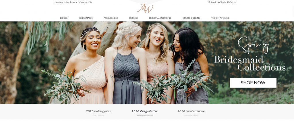 """AW Bridal Online Bridesmaid dress store home page. Image of 4 bridesmaid in unique bridesmaid dresses. Text states """"spring bridesmaid collections, shop now"""""""