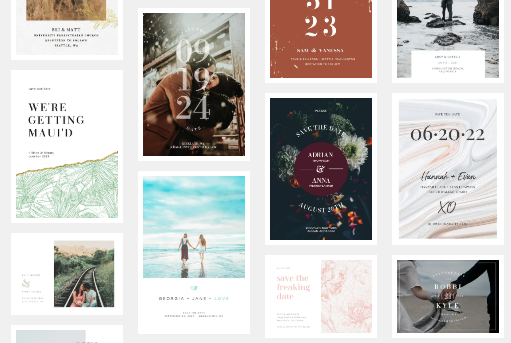 Examples of save the date templates from PicMonkey