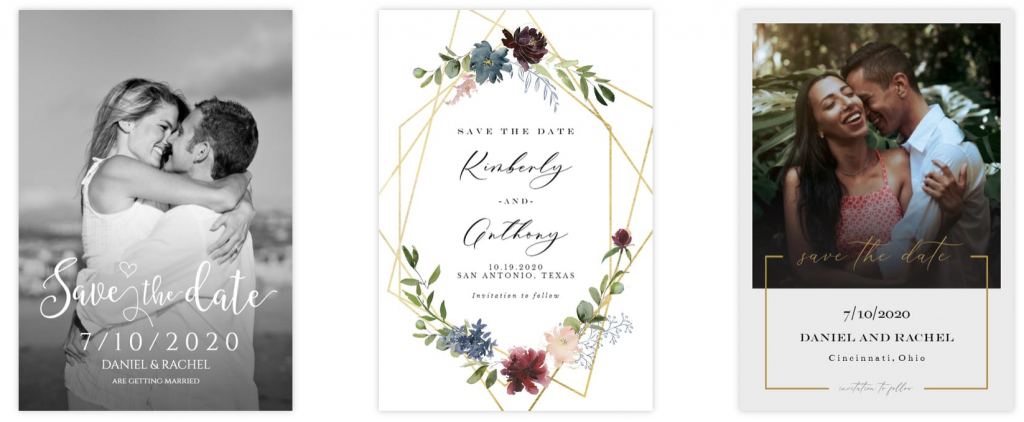 3 examples of wedding save the date templates from Greetings Island