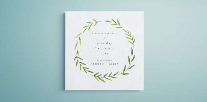 Save the Date template with greenery. Free template for InDesign