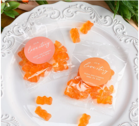 Personalized Champagne Gummy Bears Perfect for a Virtual Bridal Shower Favor