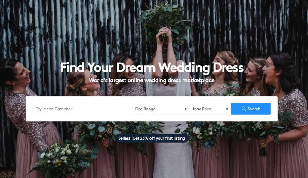 """find your dream wedding dress"" world's largest online wedding dress marketplace."