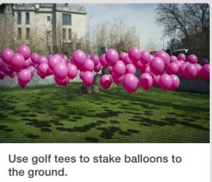 Use balloons to decorate lawn for your bridal shower celebration!