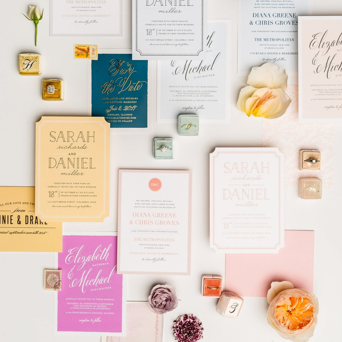Colorful flatly of wedding stationary