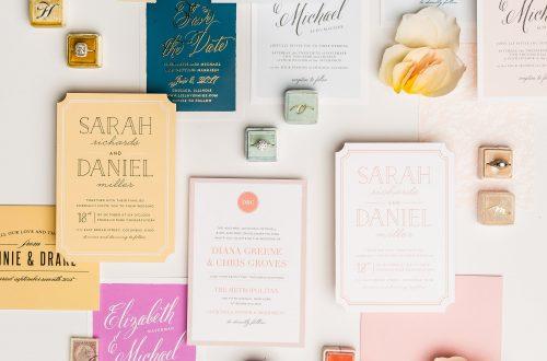 Colorful flatly of wedding stationary