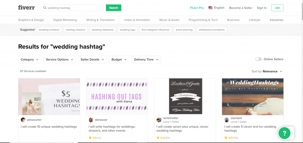 Fiverr Wedding Hashtag Writers starting at $5