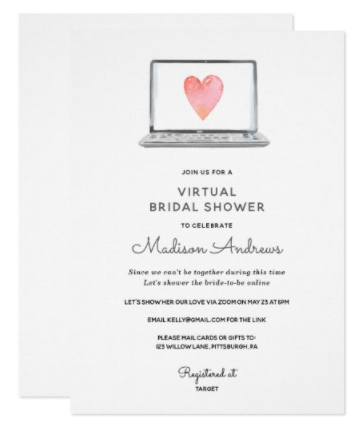 Virtual Shower invitation. Laptop with watercolor heart.