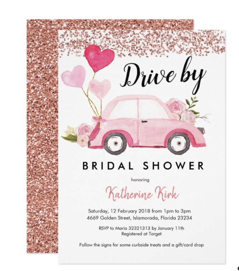 Drive By Bridal Shower Invitation with Pink Car and Glitter