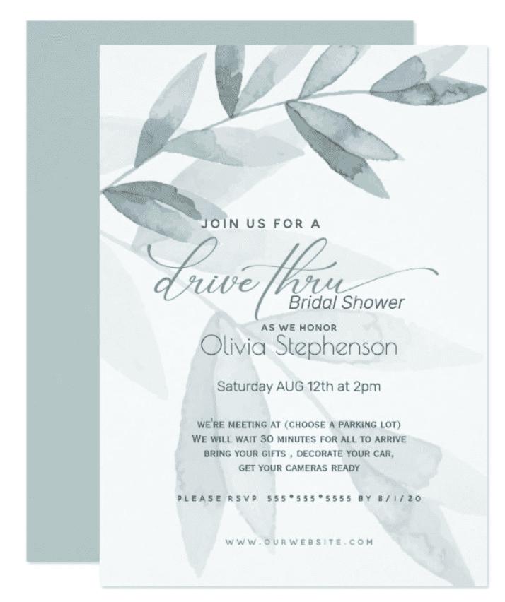 Green Eucalyptus Drive Thru Bridal Shower Invitation