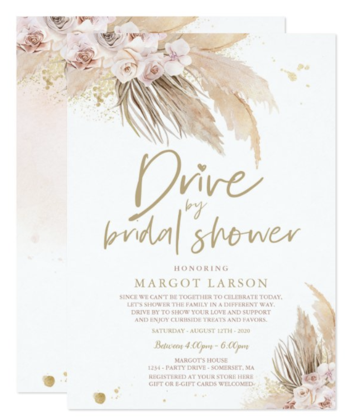 Boho Drive By Bridal Shower with Pampas Grass Invitation