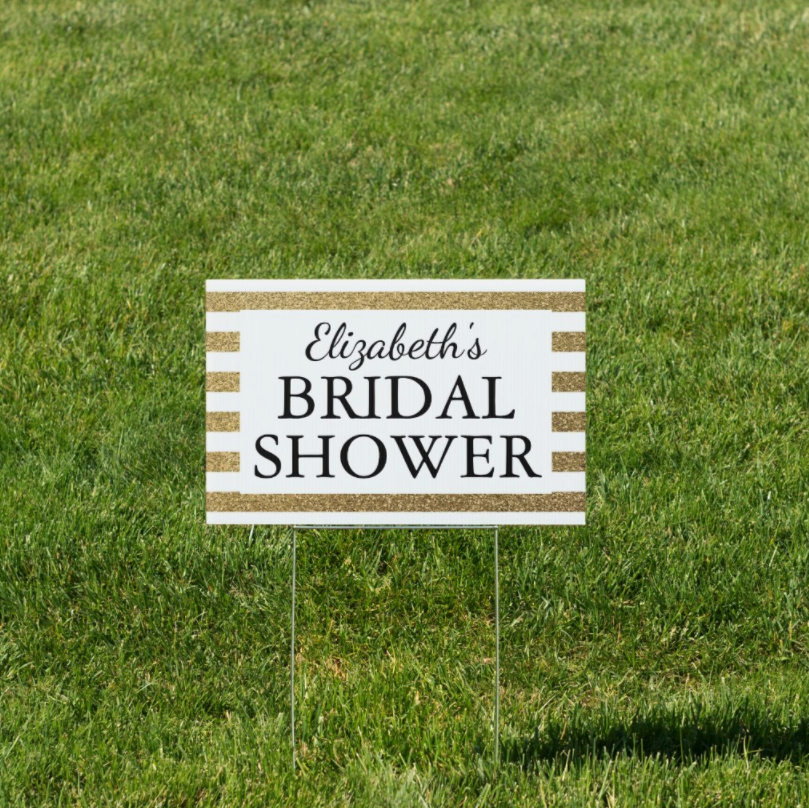 """Gold Glitter Lawn Sign with Text """"Elizabeth's Bridal Shower"""""""