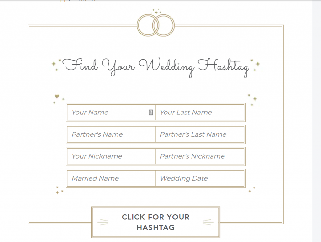 Wedding hashtag generator by Shutterfly