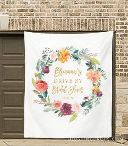 Drive By Bridal Wedding Shower Banner Decoration