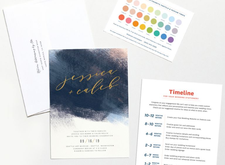 Wedding invitation, envelope, and color chart from The Knot.