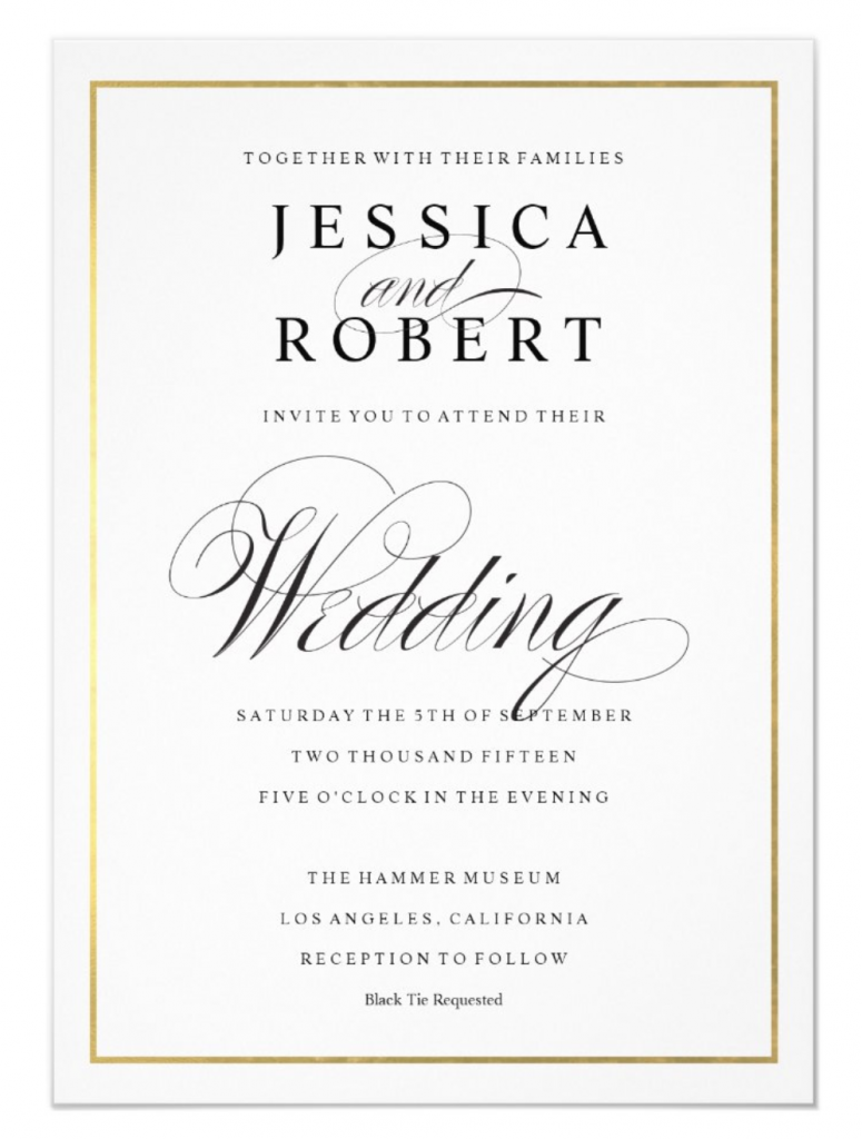 "Example of wedding invitation with ""black tie requested"""