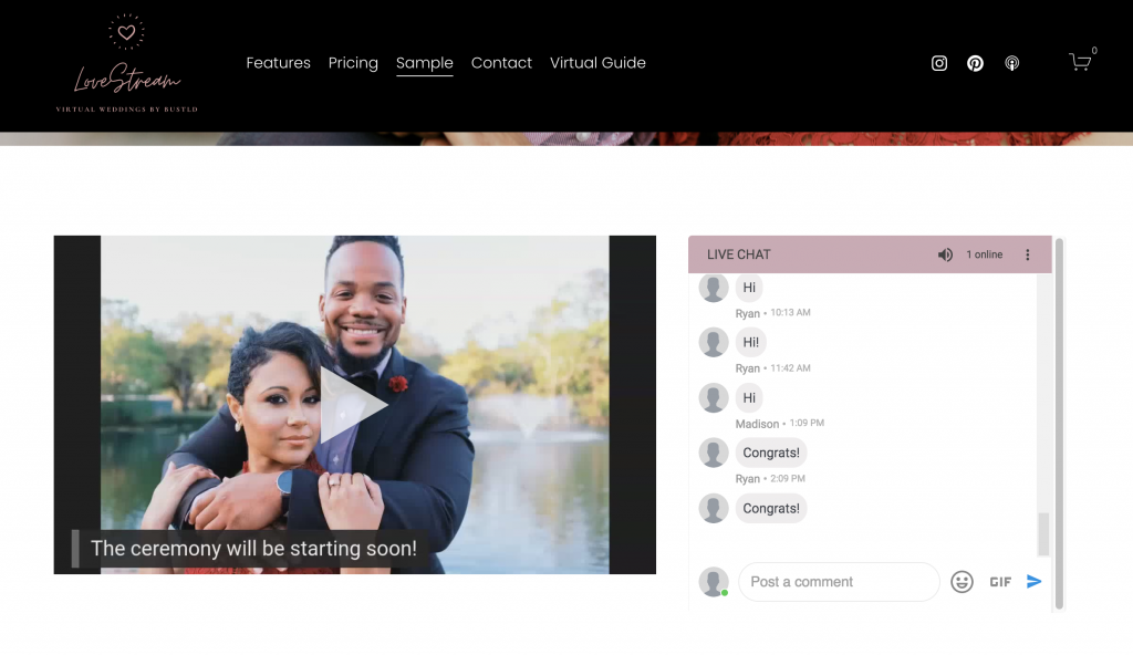 LoveStream virtual wedding streaming webpage example