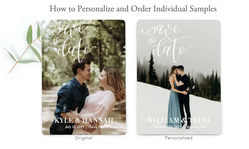Example of personalized sample wedding save the date.