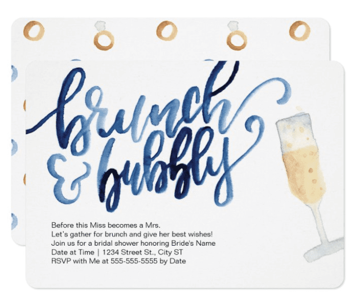 """Bridal Shower VS Wedding Shower Invitation Example for Wedding Shower. """"brunch and bubbly"""""""