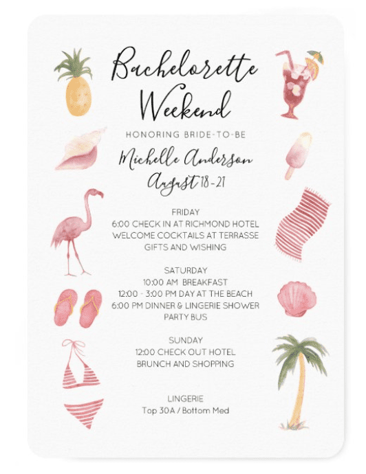 """Bachelorette Party VS Hen Party Invitation for Bachelorette Weekend Example. Text reads """"Bachelorette Weekend honoring bride-to-be Michelle Anderson"""""""