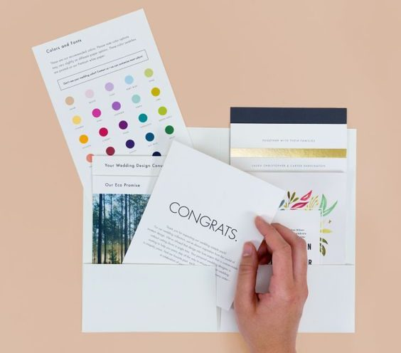 Color chart and invitation samples for free from Paper Culture.