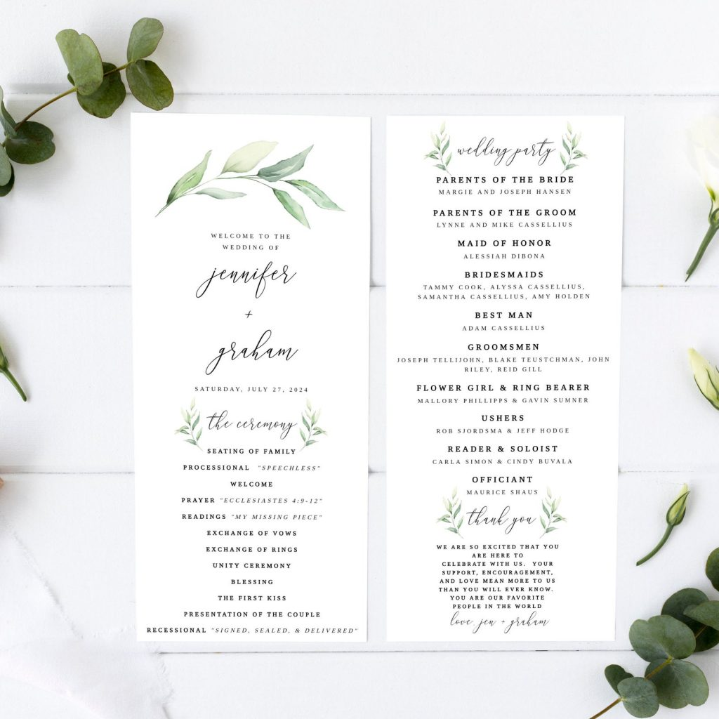 Wedding program example with greenery botanical style and calligraphy from Etsy.