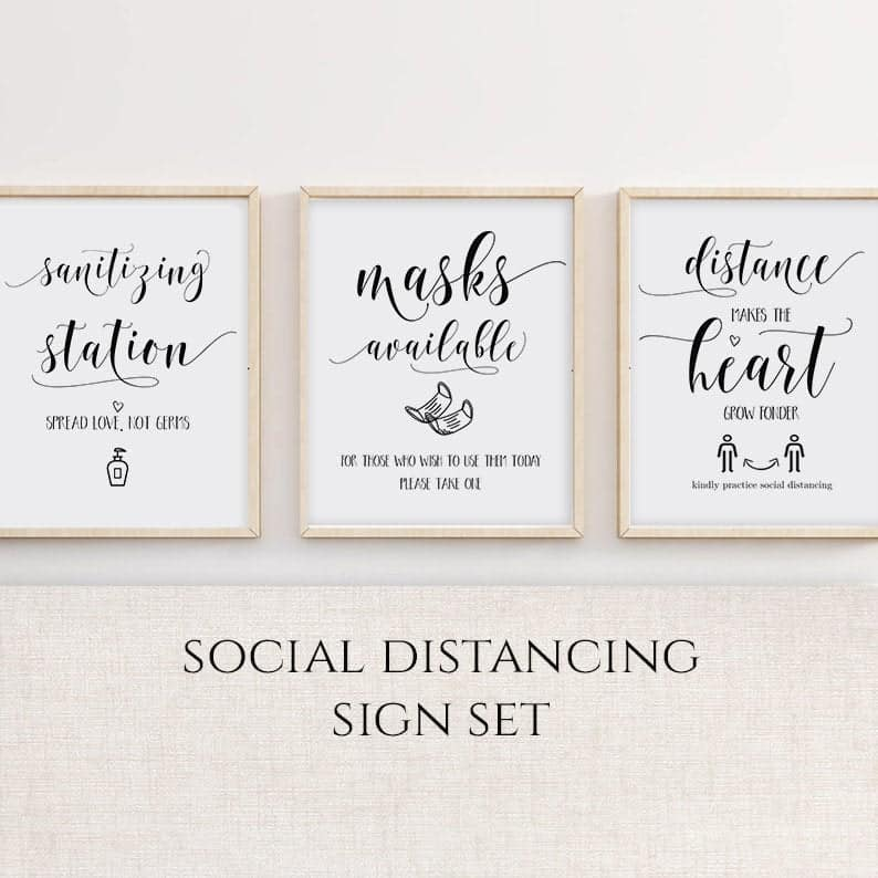 Social Distancing Wedding Sign Set