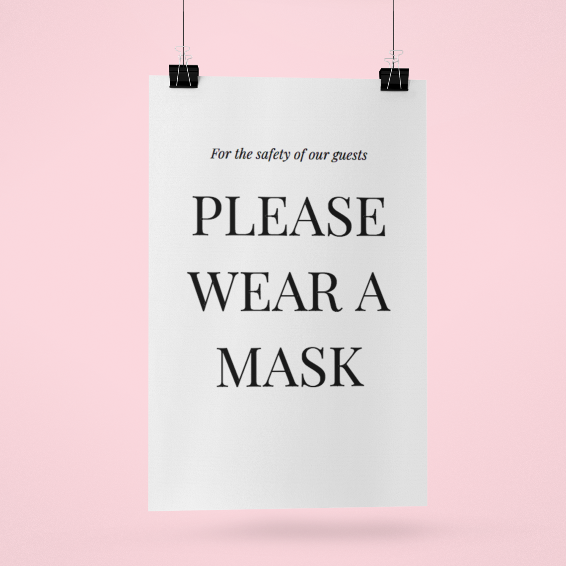 "Wedding Sign that states: ""for the safety of our guests please wear a mask"""