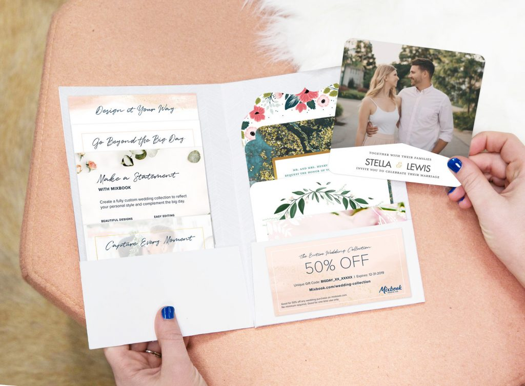 Mixbook wedding stationary kit example with 50% off discount code included.
