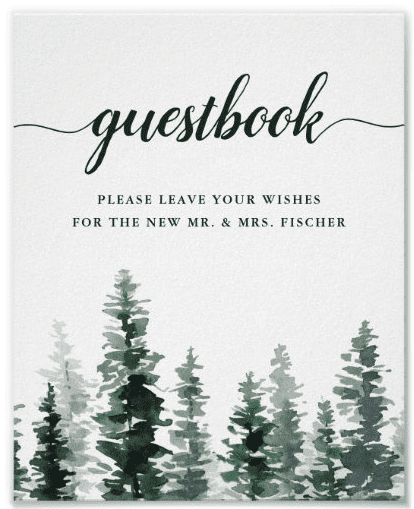 """Guestbook wedding signage with green trees. Text reads """"please leave your wishes for the new Mr. & Mrs."""""""
