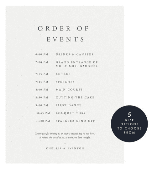 Example of an 'order of events' wedding sign.