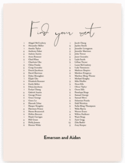 """Pale pink wedding seating display reads """"find your seat"""" in calligraphy with names listed below."""