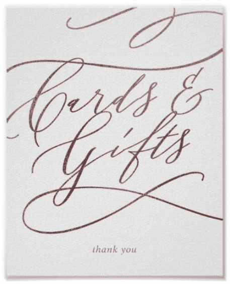 """White wedding sign with rose gold calligraphy. Text reads """"Cards & Gifts thank you""""."""