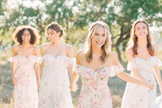 4 floral bridesmaid dresses from Revelry